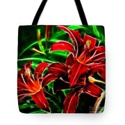 Red Lilies Expressive Brushstrokes Tote Bag