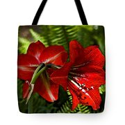 Red Lilies For Spring Tote Bag