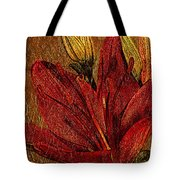 Red Lily Gold Leaf Tote Bag