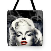 Red Lips Marilyn In Smoke Tote Bag