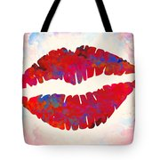 Red Lips Watercolor Painting Tote Bag