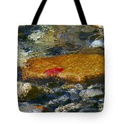 Red Maple Leaf In Stream Tote Bag