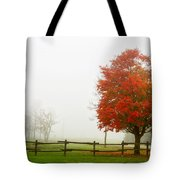 Red Maple Tree And A Split-rail Fence Tote Bag