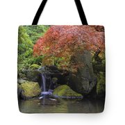 Red Maple Tree Over Waterfall Pond Tote Bag