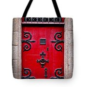 Red Medieval Door Tote Bag