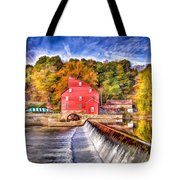 Red Mill Painted Tote Bag