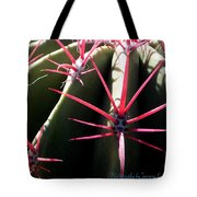 Red Needles On Barrel Cactus Tote Bag