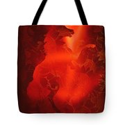 Red On Red Horse Tote Bag
