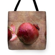 Red Onions On Barnboard Tote Bag