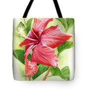 Red Orange Hibiscus Tote Bag