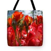Red Orange Roses Art Prints Floral Photography Tote Bag