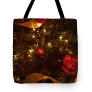 Red Ornament And Gold Ribbon Tote Bag