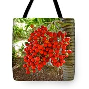Red Palm Tree Fruit Tote Bag by Kirsten Giving