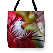 Red Passion Flower Stamens Tote Bag