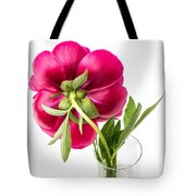Red Peony Flower Back Tote Bag