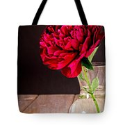 Red Peony Flower Vase Tote Bag by Edward Fielding
