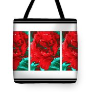 Red Peony Triptych Tote Bag