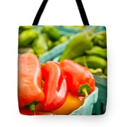 Red Peppers On Display Tote Bag