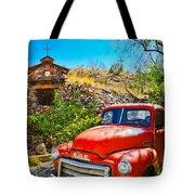 Red Pickup Truck At Santa Fe Tote Bag