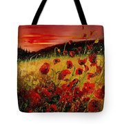 Red Poppies And Sunset Tote Bag