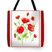 Red Poppies Botanical Design Tote Bag