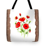 Red Poppies Decorative Collage Tote Bag