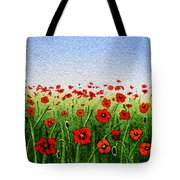Red Poppies Green Field And A Blue Blue Sky Tote Bag