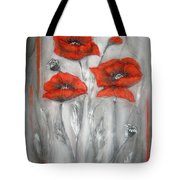 Red Poppies In Silver Dream Tote Bag by Elena  Constantinescu