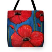 Red Poppies On Blue Tote Bag
