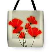 Red Poppies On Gray - Abstract Flower Art Tote Bag