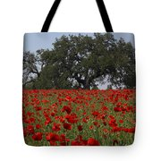Red Poppy Field Tote Bag