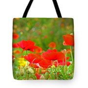Red Poppy Flowers Meadow Art Prints Tote Bag
