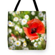 Red Poppy With Daisies On Flower Meadow Tote Bag