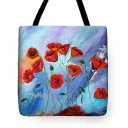 Red Poppy With Dragonfly Tote Bag