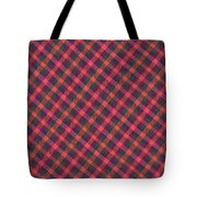 Red Purple And Green Diagonal Plaid Textile Background Tote Bag