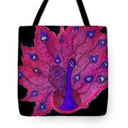Red - Purple Peacock Tote Bag