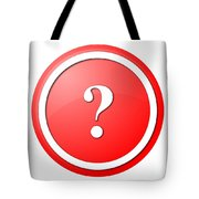 Red Question Mark Round Button Tote Bag