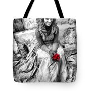 Red Red Rose In Black And White Tote Bag