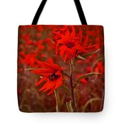 Red Red Wild Flowers Tote Bag