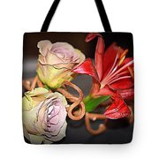 Purple Roses And Red Lily Tote Bag