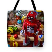 Red Robot And Marbles Tote Bag