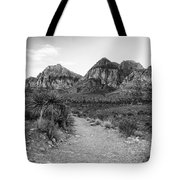 Red Rock Canyon Trailhead Black And White Tote Bag