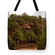 Red Rock Green Forest No3 Tote Bag