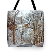 Red Rock Winter Road Portrait Tote Bag