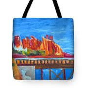 Red Rocks And Railroad Trestle Tote Bag