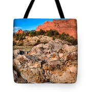 Red Rocks Over White Tote Bag