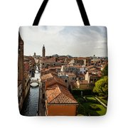 Red Roofs Of Europe - Venetian Canal Palaces Gardens And Courtyards Tote Bag