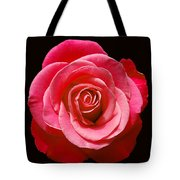 Red Rose On Black Tote Bag