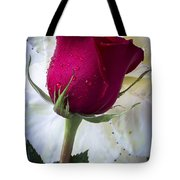 Red Rose And Kale Flower Tote Bag