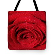 Red Rose And Water Drops Tote Bag